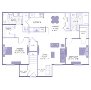 """Master bedroom 11'10"""" x 11'11"""". Bedroom 11'11"""" x 11'3"""". Kitchen. Dining room 8' x 11'7"""". Living room 15'2"""" x 12'7"""". 2 bath. 2 walk-in closets. 2 closets. Washer and dryer in unit."""