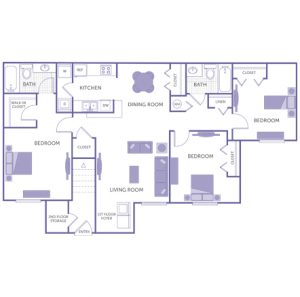 3 bed 2 bath floor plan, kitchen, dining room, living room, 1 walk-in closet, 1 linen closet, 4 closets, washer and dryer in unit